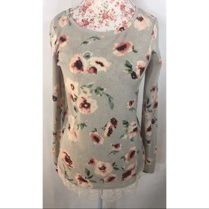 Lauren Conrad Cabbage rose women's tunic sweater